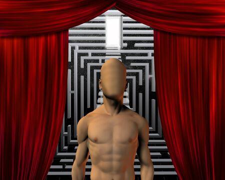 theatrical performance: Man before maze and doorway Stock Photo