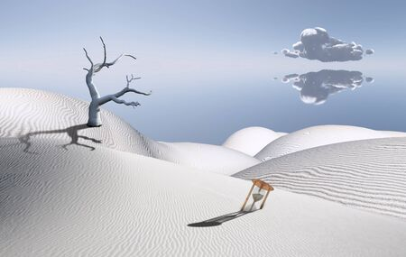 unreal unknown: Surreal white desert with hourglass and dried tree.