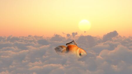 unreal unknown: Golden fish in clouds. Stock Photo