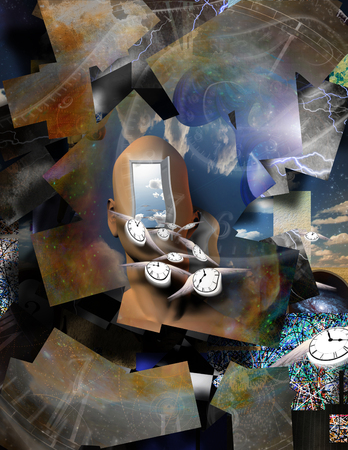 Surrealism. Mans head with opened door to another world. Winged clocks symbolizes flow of time.