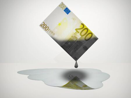 Oil Drips from 200 Euro Note