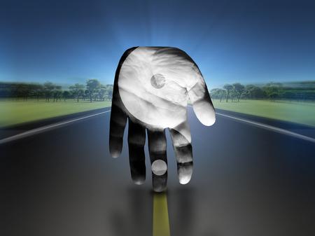 metaphysic: Yin Yang Hand Stock Photo