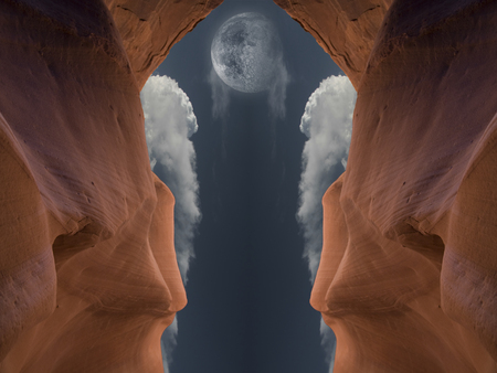 Red cave. Moon in the cloudy sky. Banco de Imagens - 89101571
