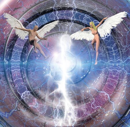 Figures of man and woman with angel wings. Human soul in the center. Spiral of time.