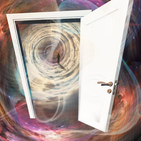 tunnel vision: The white door, man in a space tunnel Stock Photo