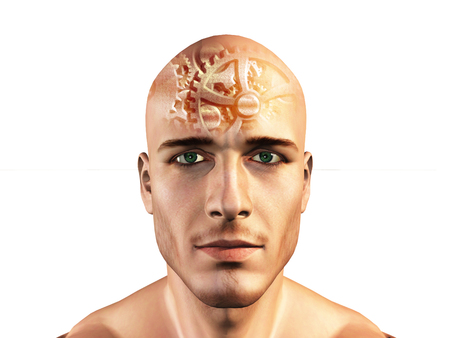 thinking machines: Gears shown in mans head Stock Photo
