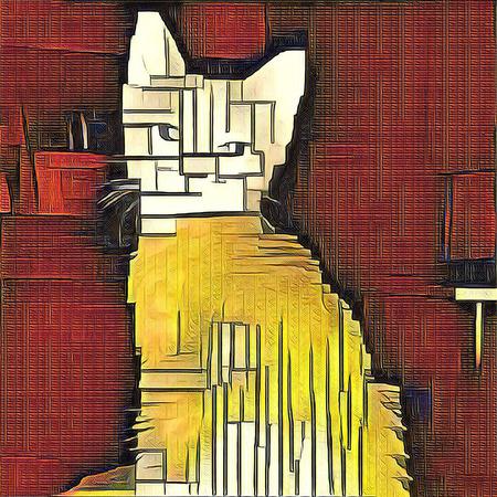 Abstraktes Gemälde. Katze. Mondrian-Stil.