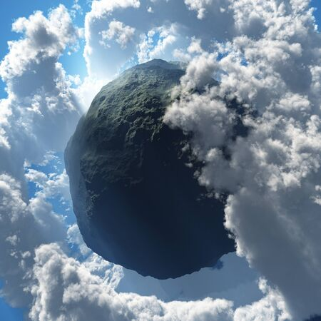 asteroid: Surrealism. Asteroid in clouds. Stock Photo