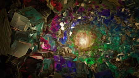 Abstraction. Tunnel of colorful crystals. Stock Photo