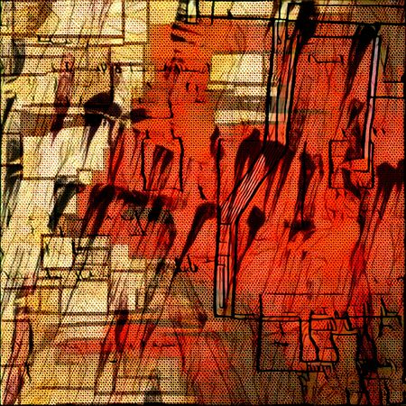 Abstract painting. Stains and brush strokes in muted colors.
