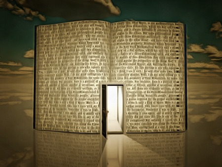 portone: Surreal painting. Opened door in open book with story. Archivio Fotografico