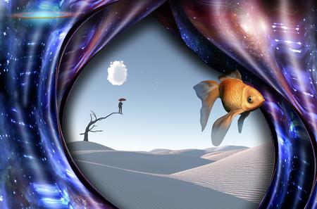 warped: Surreal white desert. Man with red umbrella stands on a dry tree. Warped space and golden fish. Stock Photo