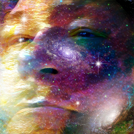 person silhouette: Surrealism. Mans face on deep space background.