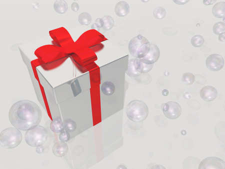 engagement party: Silver gift box with bubbles