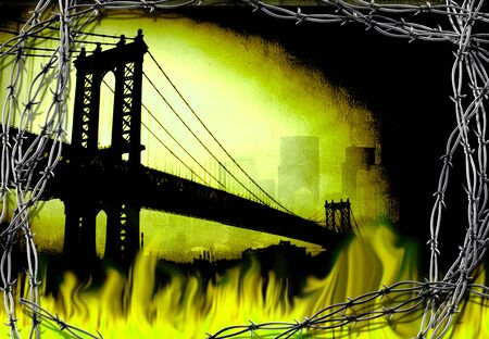 Manhattan bridge. Fire and barbwire. Stock Photo