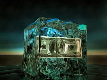 100 Dolloar Bill Frozen in Ice Imagens