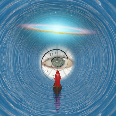 eye red: Figure in red robe floating to Gods eye in blue tunnel Stock Photo