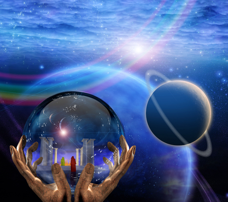 Crystal ball with temple and monk inside. Clouds and planets. Stock Photo
