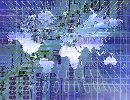 Internet World with binary code