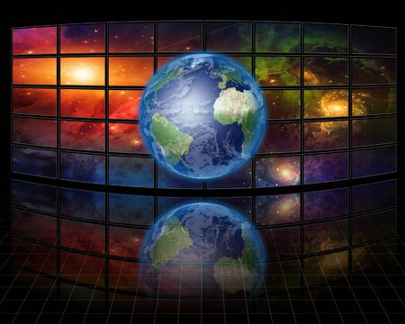 lcd: Video Screens with Earth Stock Photo