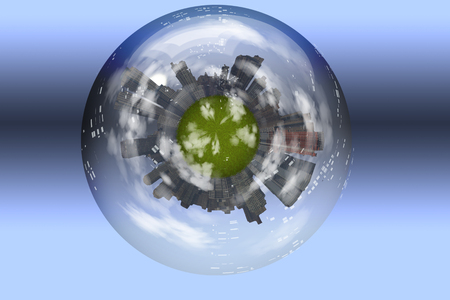 Sphere enclosed green city planet Stock Photo