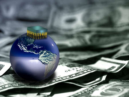 Globe and microchip on US dollars. Stock Photo