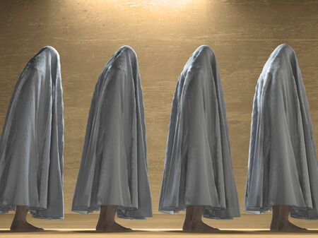 oppressed: White clothed figures