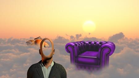 3d weird: Faceless man above clouds. Golden fish and armchair.