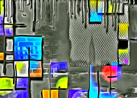 painting style: Abstract painting. Mondrian style. Stock Photo
