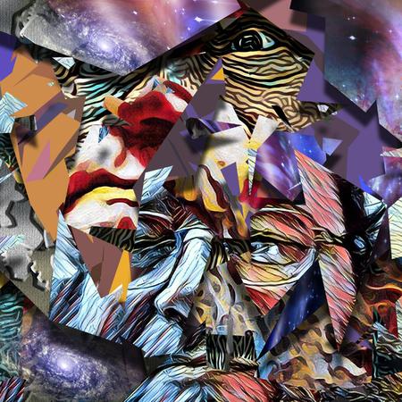 Abstract schilderij. gezicht Oude man in de glazen. Stockfoto