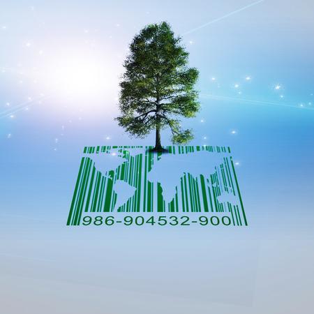 バーコードと世界地図に緑の木。