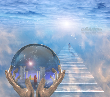 creator: Crystal ball with temple and monk inside. Figure of man walks to the light.