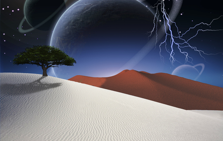 Surreal desert. Green tree on sand dune. Big planets in the starry sky.