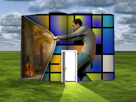Surrealism. Book with opened door and man opens curtain to another dimension. Mondrian style. 版權商用圖片