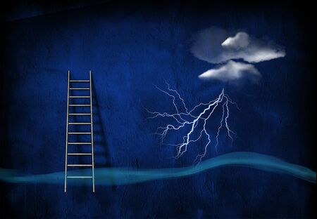 Surrealism. Lightning from cloud, ladder.