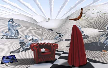 unreal unknown: Surreal desert with chess figures. Figure in red hijab. Armchair with white apple. Painting with brush and dyes. Eagle in the sky.