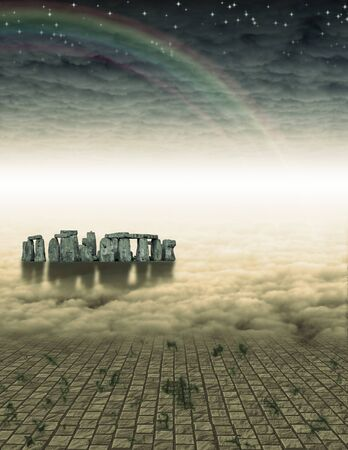 edge: Surreal painting. Stonehenge in cloudy space.
