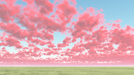 Colorful clouds above horizon.