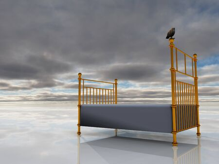 3d render. Bed in the surreal sky. Stock Photo