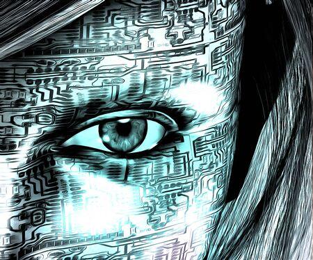 シュル レアリスム。電子回路のパターンを持つ女性の顔。