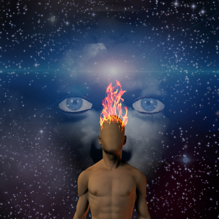 astral: Burning human head with space face background