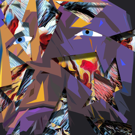 Complex abstract painting. Old mans face at the background.