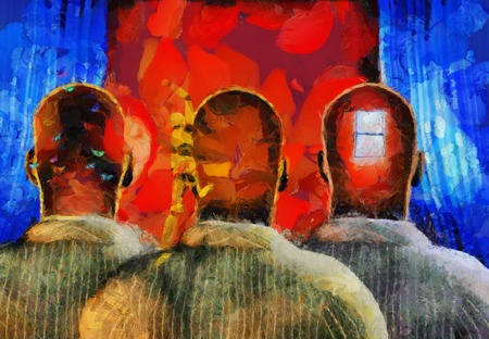 Surreal painting. Men with dreams in their head stands before drapes. Field behind drapes. Stock Photo
