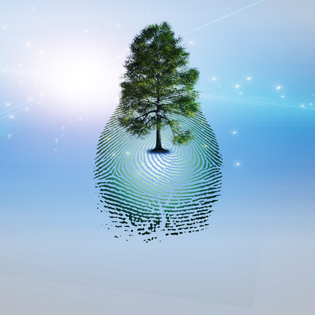 love proof: Surrealism. Green tree on fingerprint.