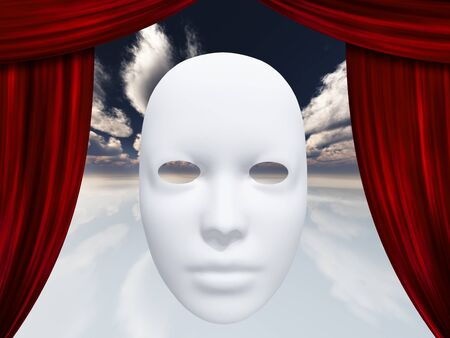 canvass: human face mask and curtains Stock Photo