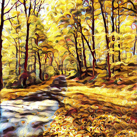Oil painting. Autumn forest. Stock Photo
