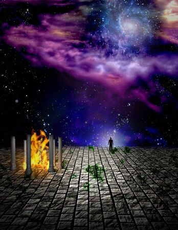 Surreal painting. Temple of fire on stone field. Man stands at the edge.