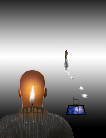 Surrealism. Melting candle in mans head. Figure of man in a distance. Фото со стока