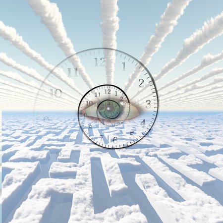 almighty: Maze of clouds. Eye of God and spiral of time.