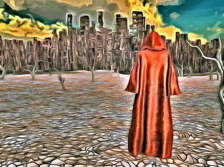 dire: Surreal painting. Figure in cloak stands before desolate city in arid land. Stock Photo